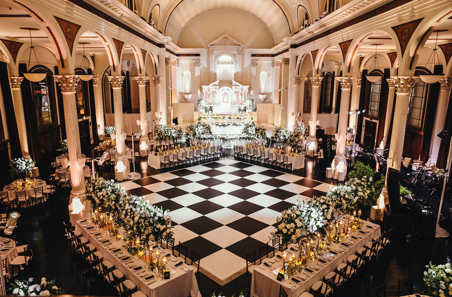 Inside Weddings magazine winter 2020 issue preview wedding reception black white dance floor vibiana los angeles