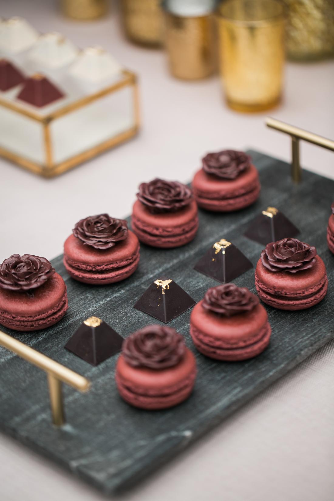 rich color palette ideas dessert table burgundy macaron pastries