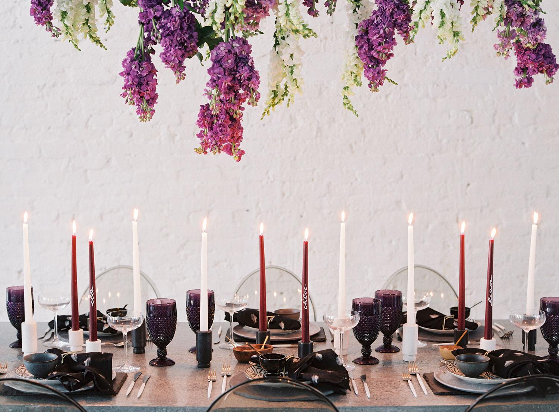 wedding reception fall wedding ideas dark color palette rich hues purple black