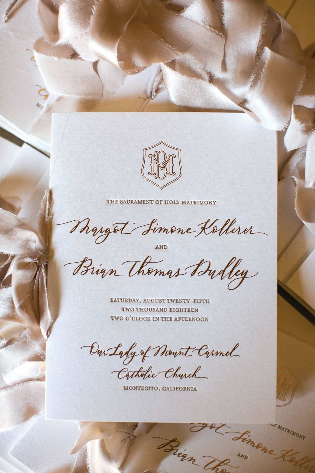 wedding invitation letterpress with fall feel warm colors