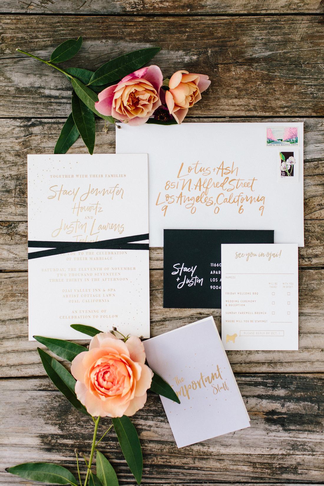 gold orange fall wedding invitation modern calligraphy fall wedding ideas