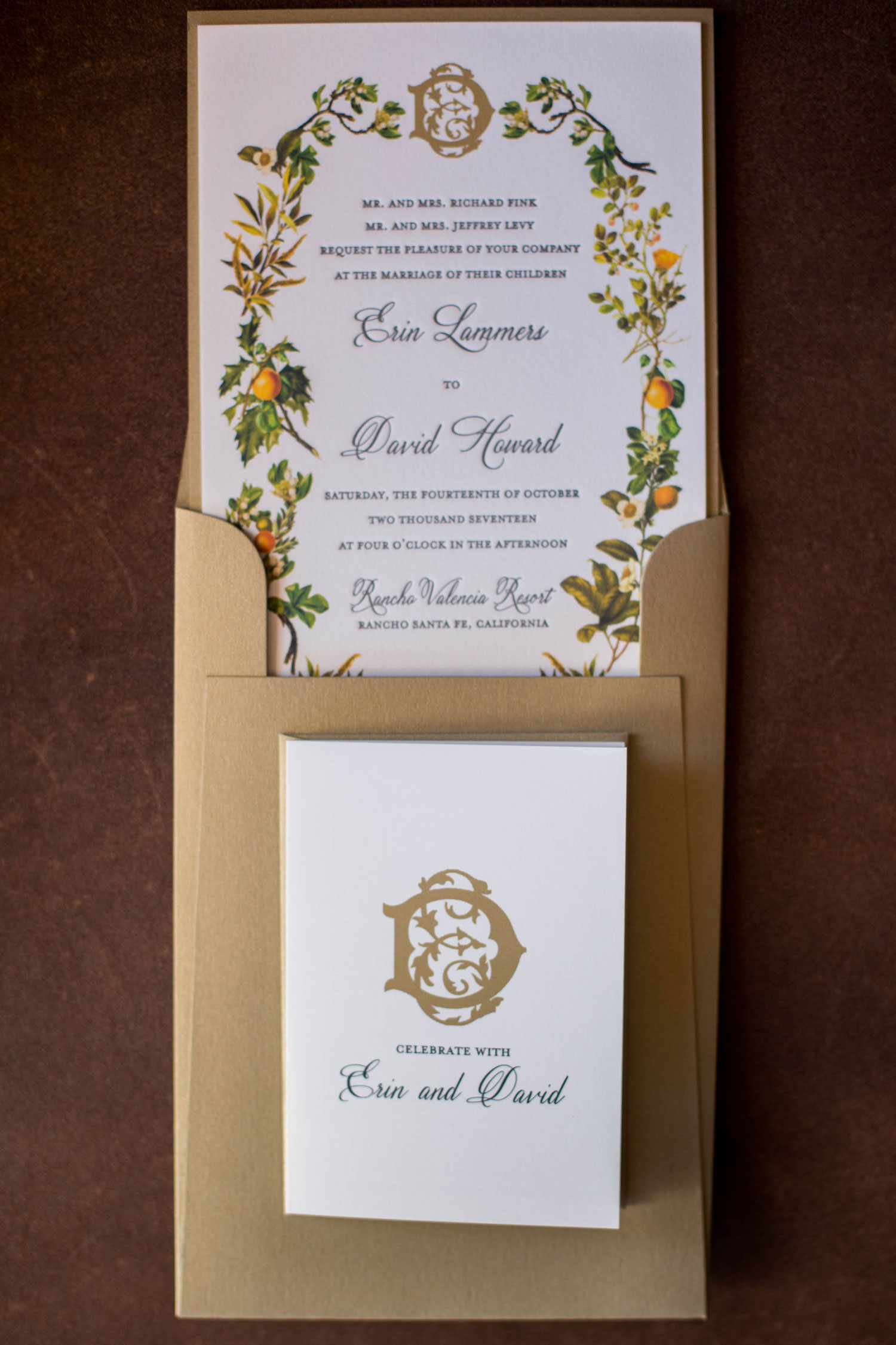 fall wedding invitation ideas floral greenery design in envelope