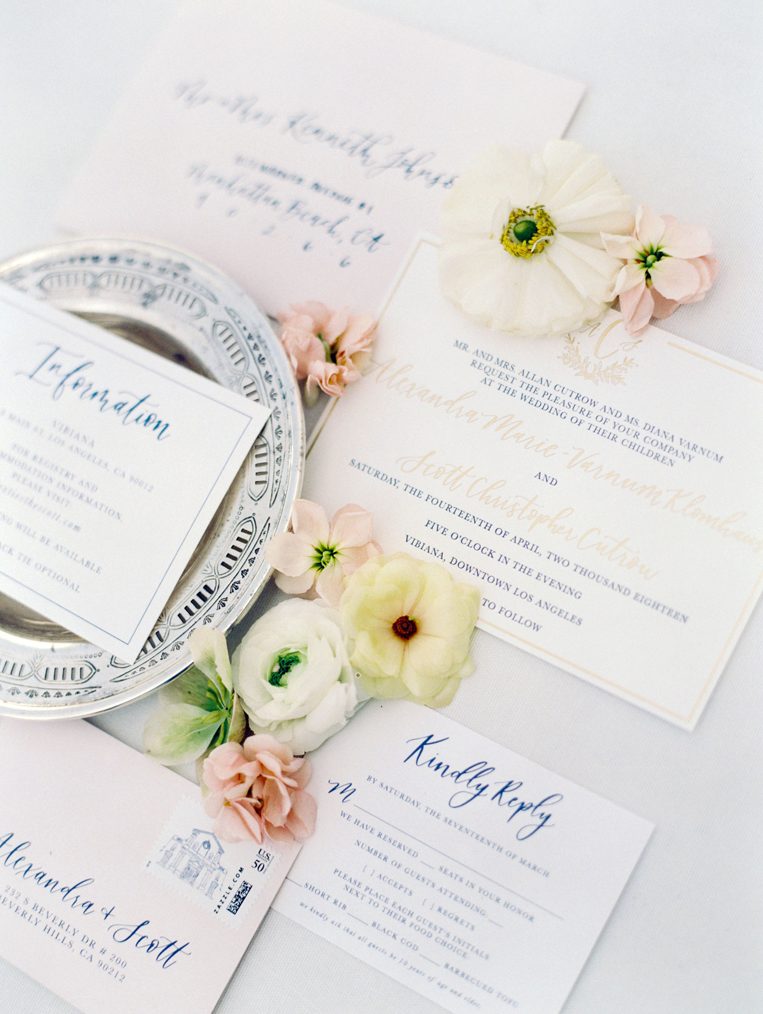 pantone color of the year 2020 classic blue wedding ideas blue calligraphy on invitation