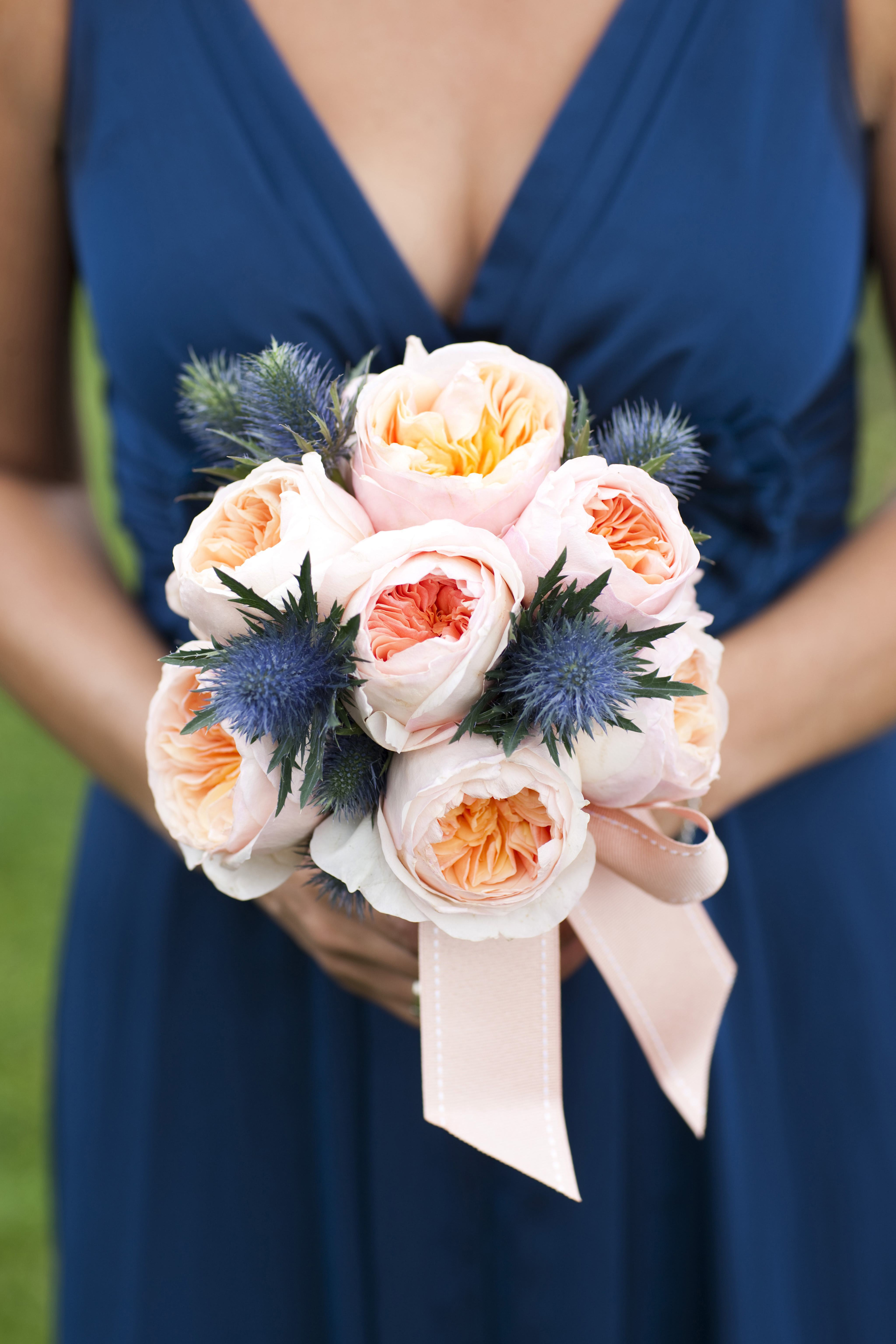 pantone color of the year 2020 classic blue wedding ideas blue thistle in wedding bouquet