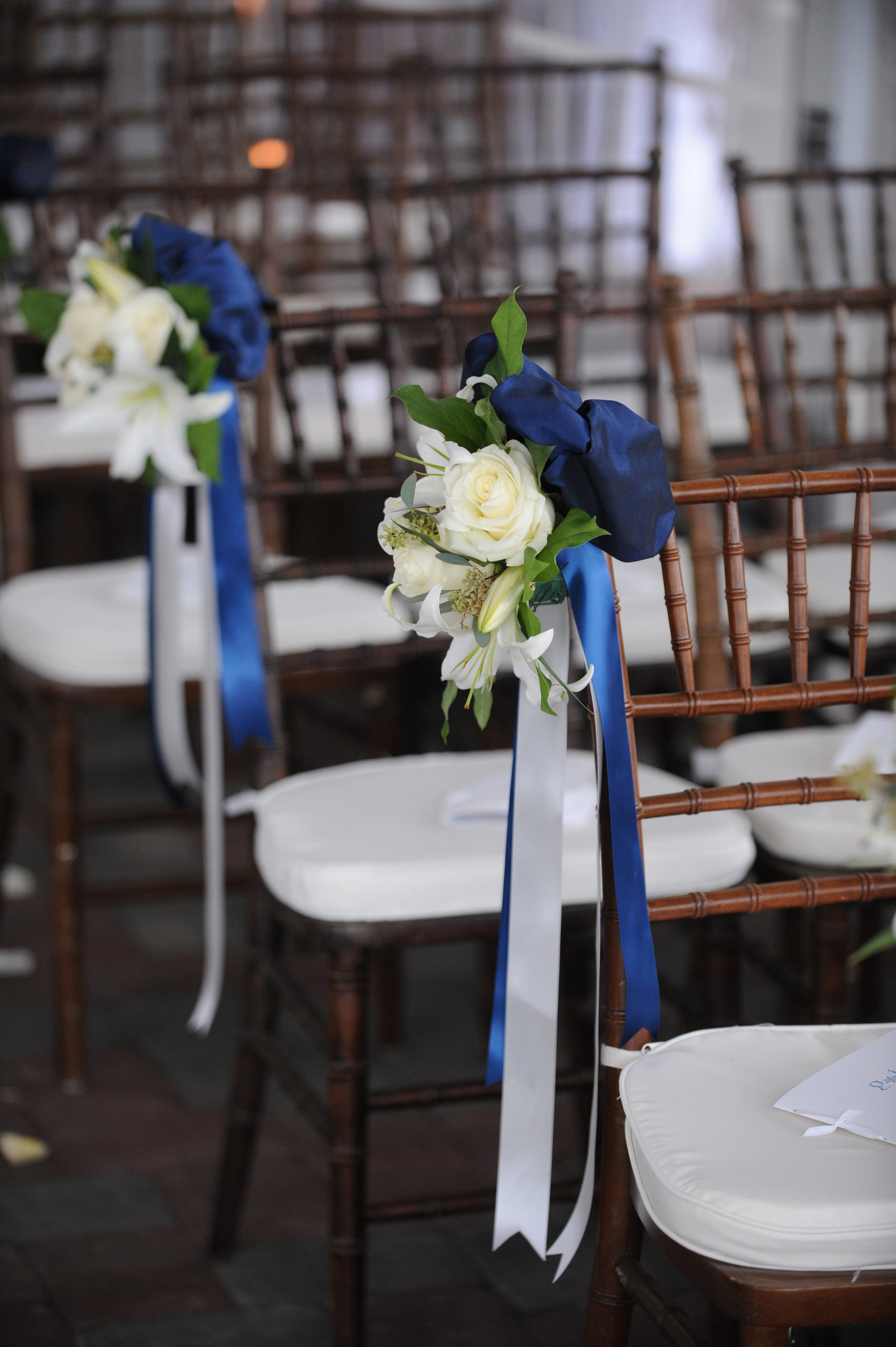 pantone color of the year 2020 classic blue wedding ideas blue ribbon ceremony decor