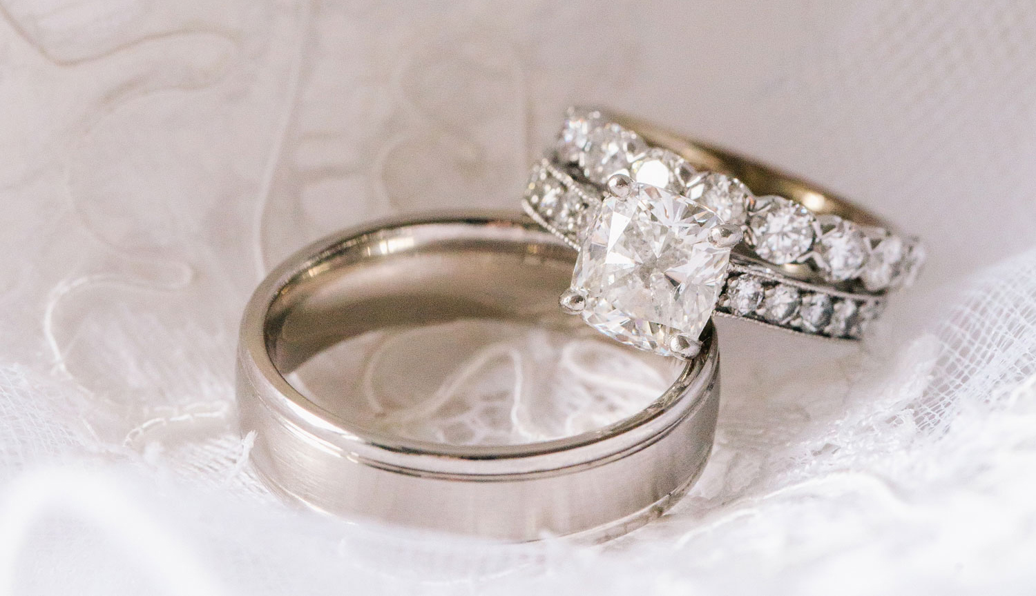 channel-set cushion-cut engagement ring with milgrain and wedding rings, steps to creating custom engagement ring