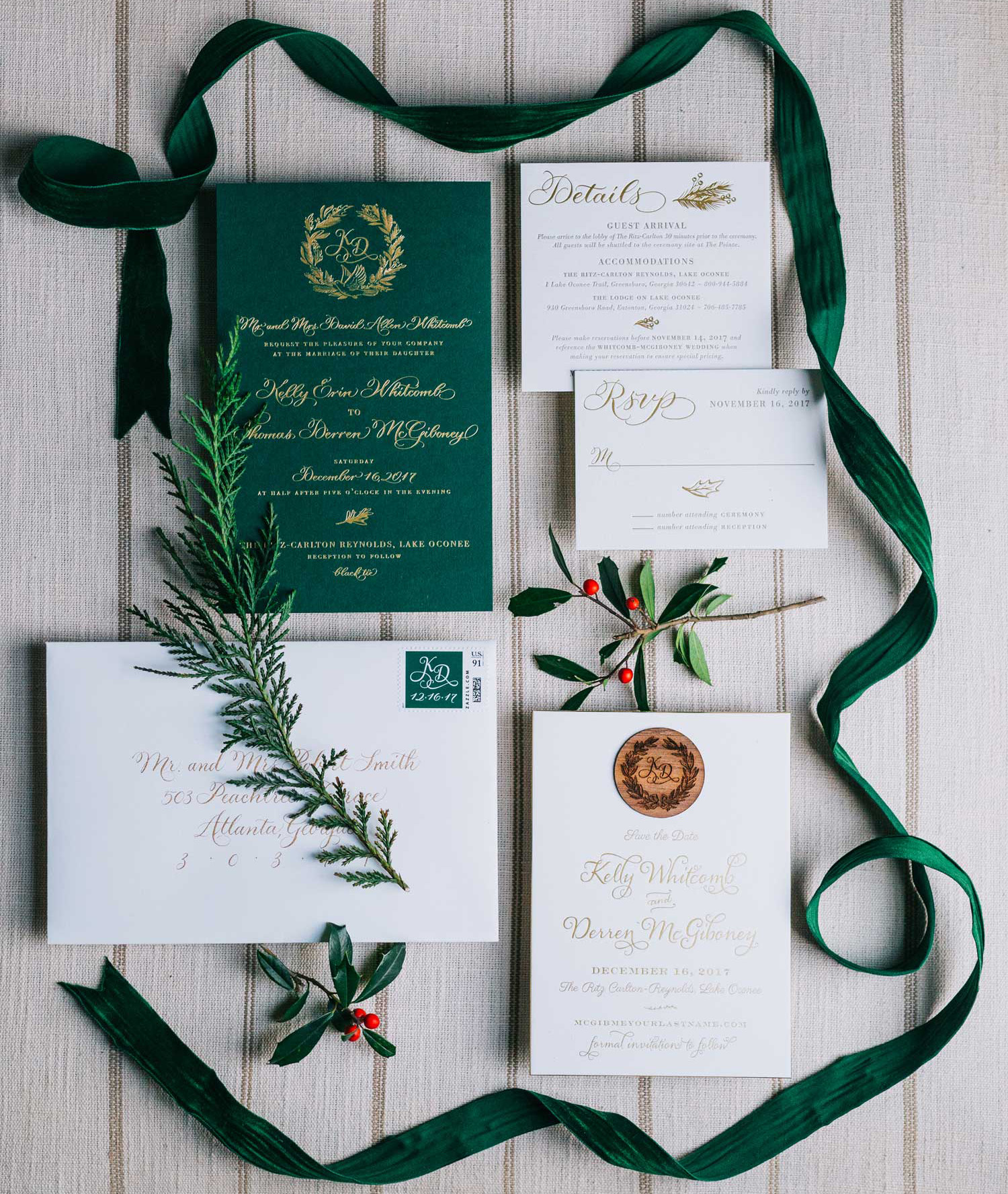 emerald green invitation suite, what to know when planning a holiday wedding