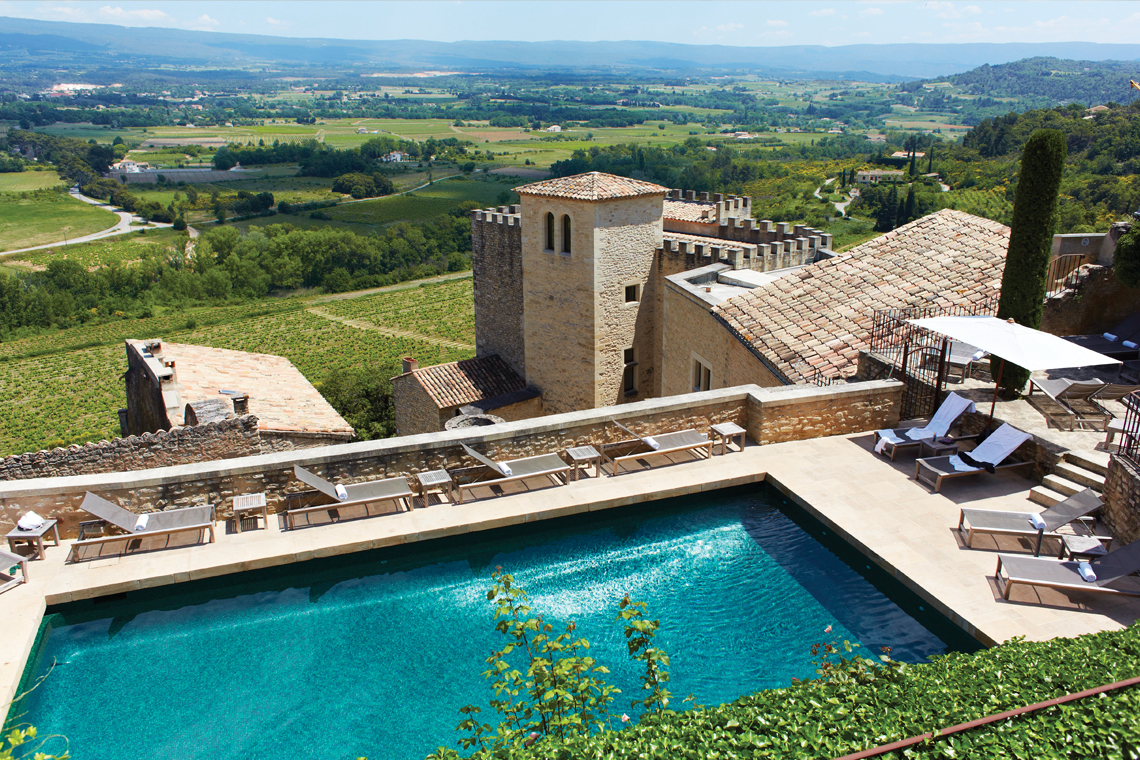 pool and view of valley at crillon le brave in france
