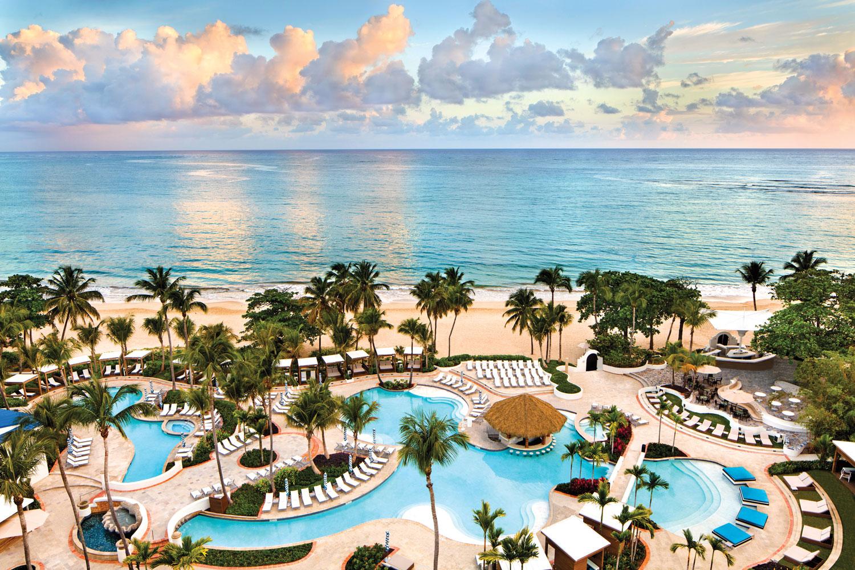 Puerto Rico destination wedding and honeymoon travel ideas el san juan hotel pool and ocean view