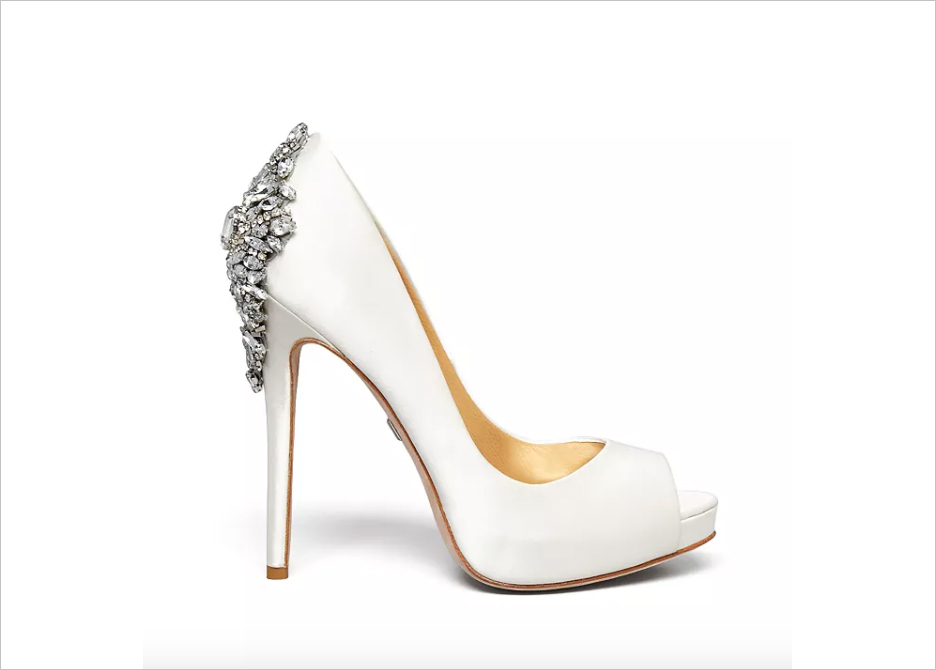 wedding shoe ideas crystal embellished pump with peep toe badgley mischka kiara