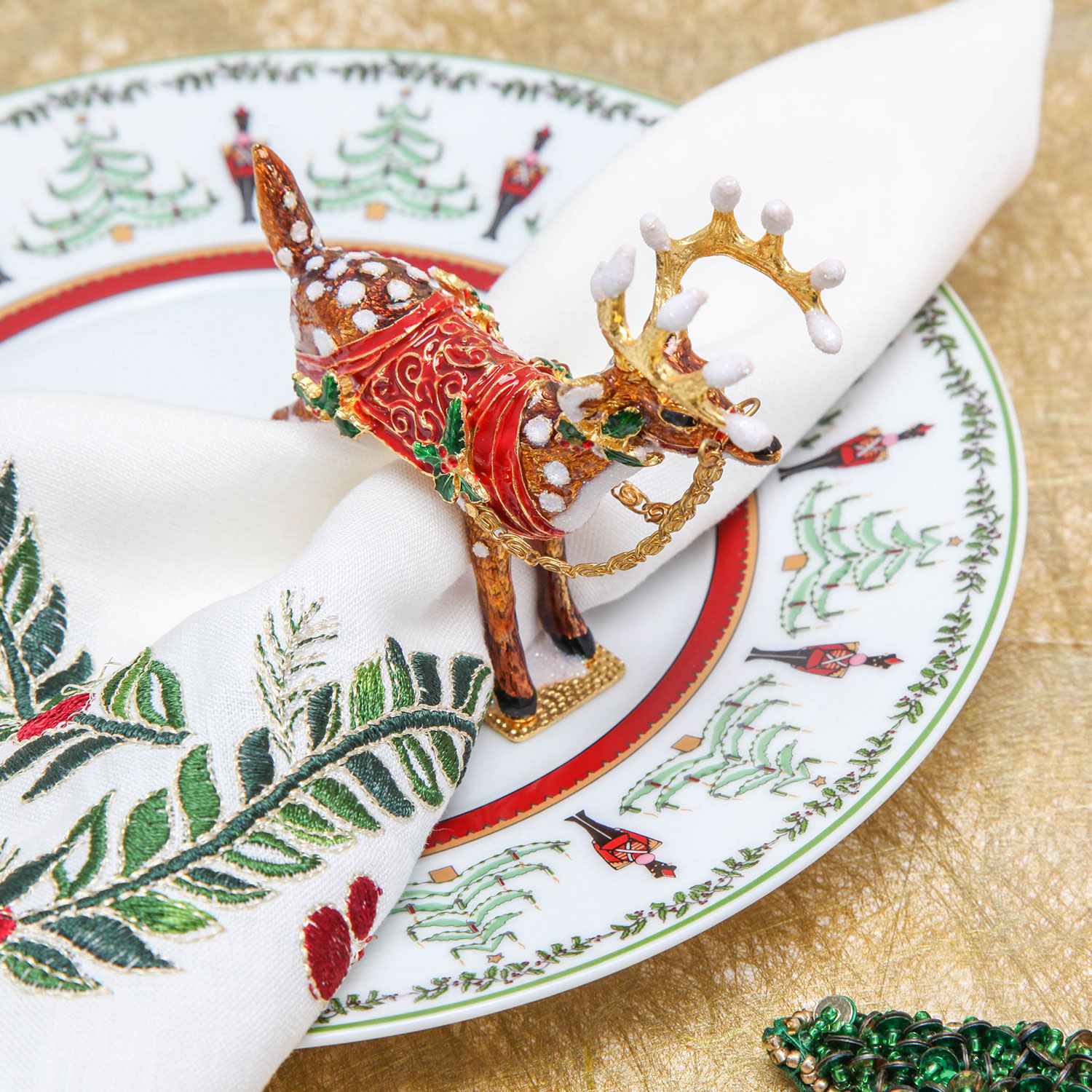 Gearys holiday hosting registry ideas dasher napkin ring by kim seybert reindeer holiday decor