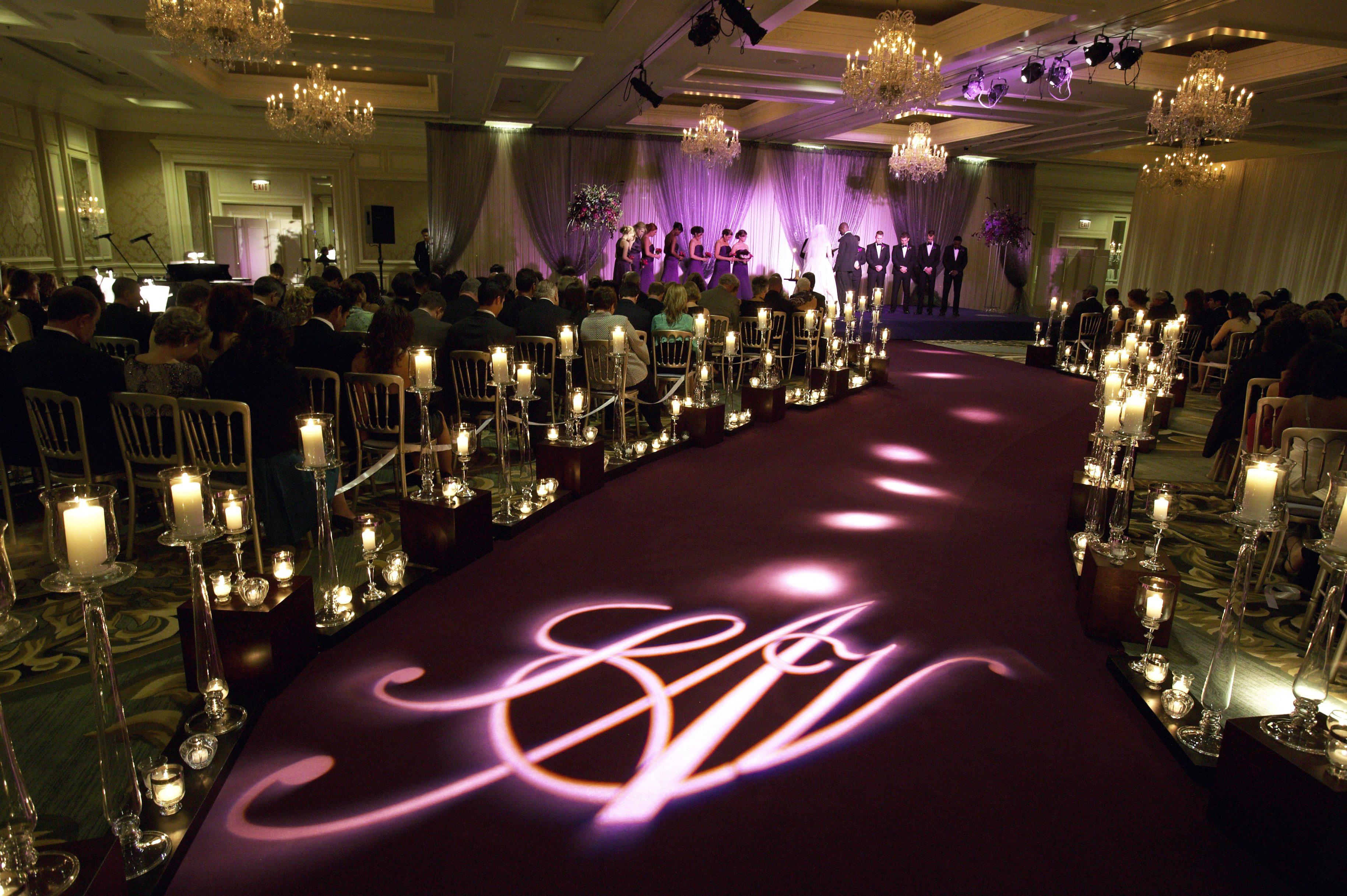 virgil abloh wedding ceremony purple decor romantic light projections 2019 popular real weddings