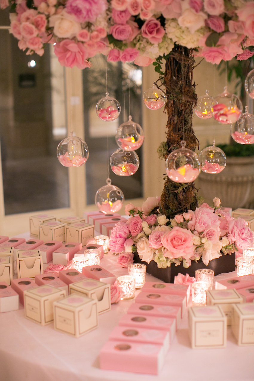 pink and white wedding reception favor table 2019 popular real weddings