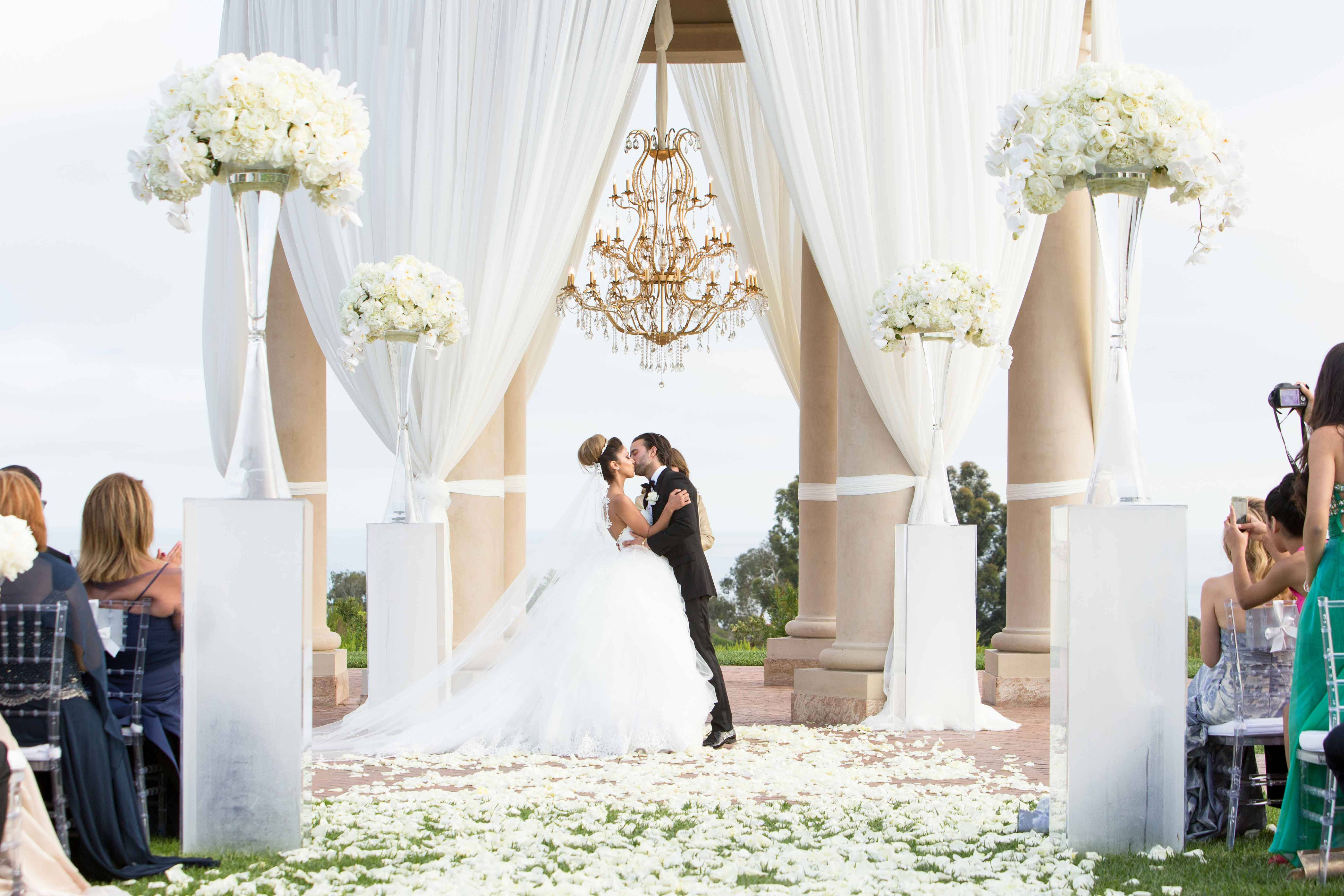 outdoor wedding ceremony flower petal aisle the resort at pelican hill 2019 most popular real weddings