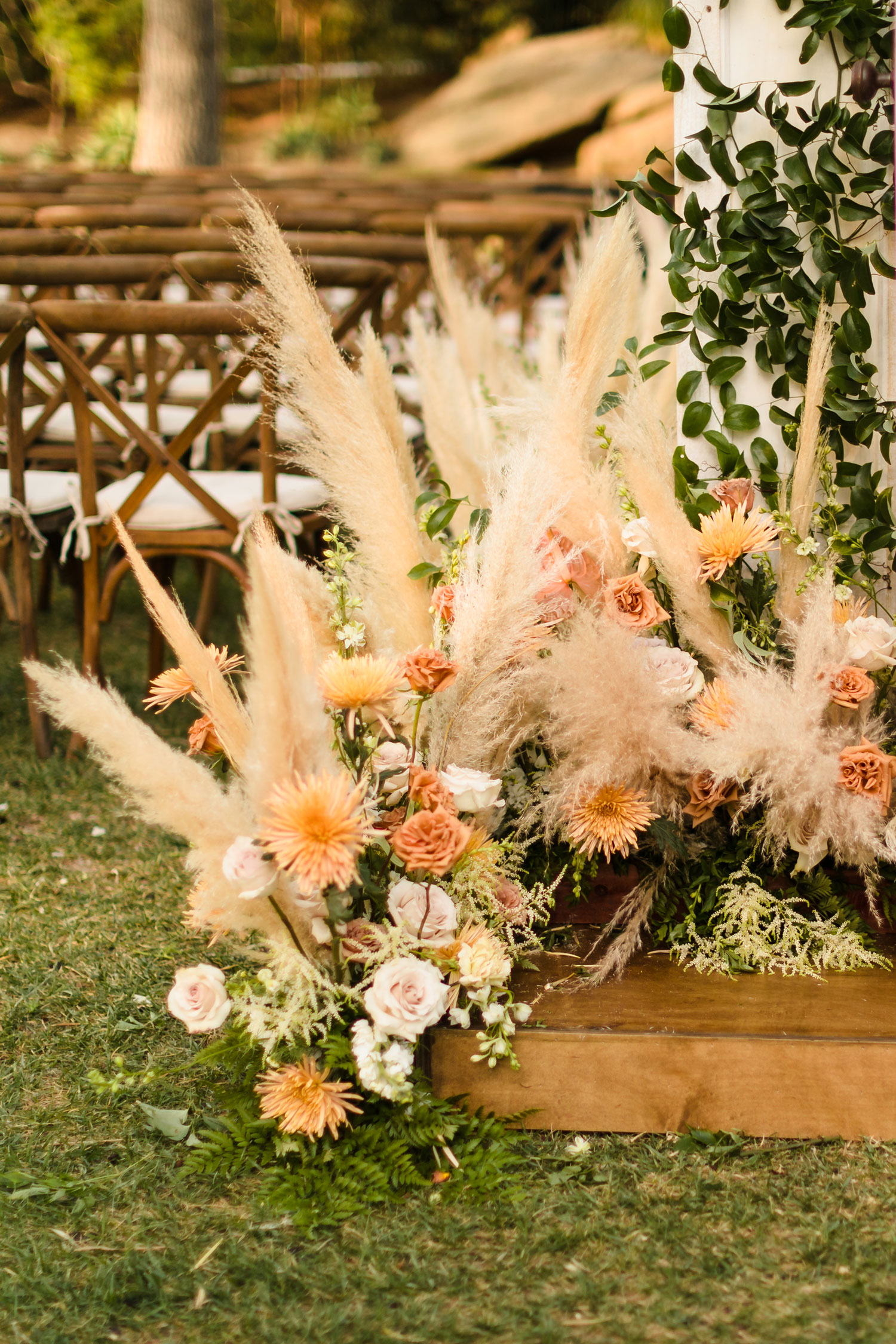 Top Chef Marcel Vigneron and Lauren Rae Levy real wedding planned by Tessa Lyn Events ceremony flowers pampas grass