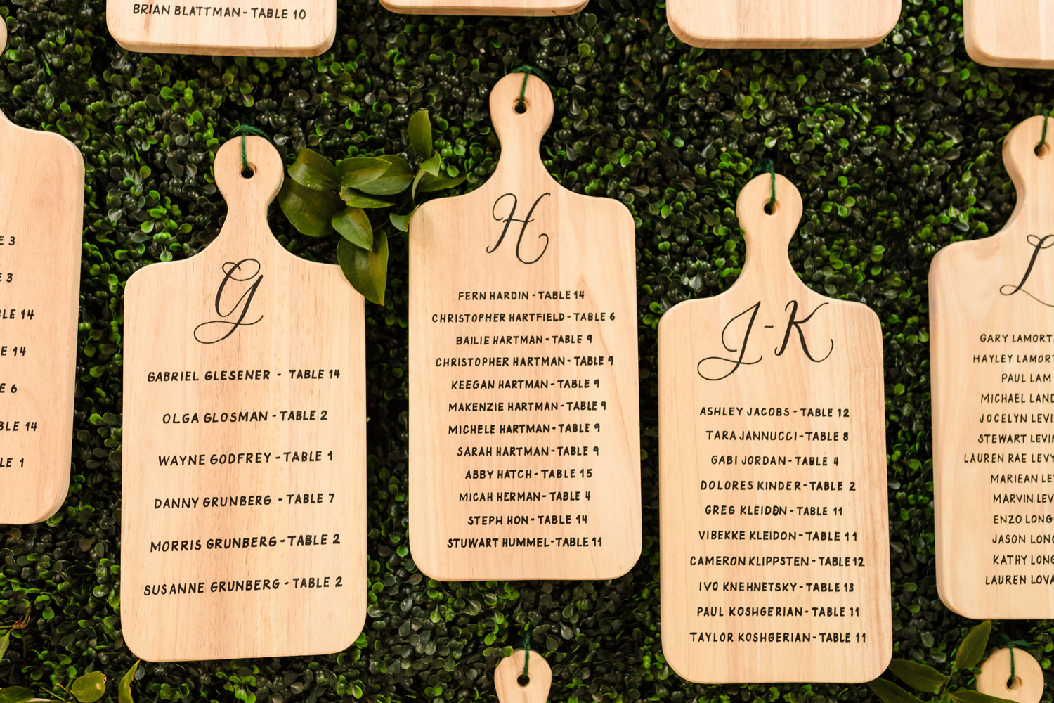 Top Chef Marcel Vigneron and Lauren Rae Levy real wedding planned by Tessa Lyn Events cutting board seating chart