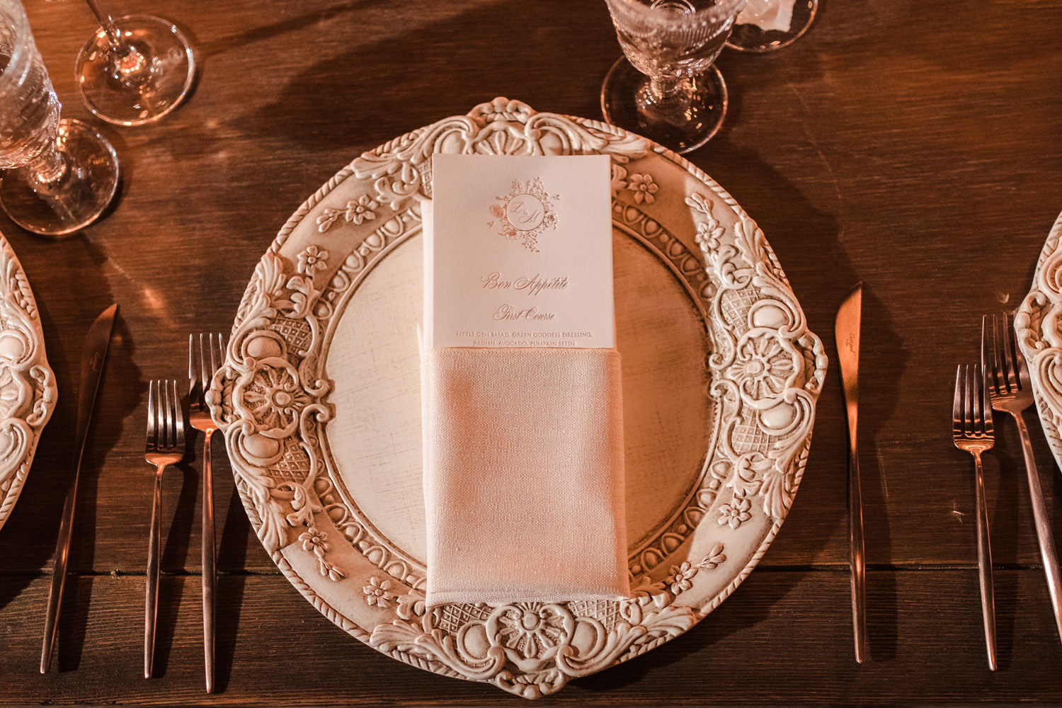 Top Chef Marcel Vigneron and Lauren Rae Levy real wedding planned by Tessa Lyn Events charger plate menu card