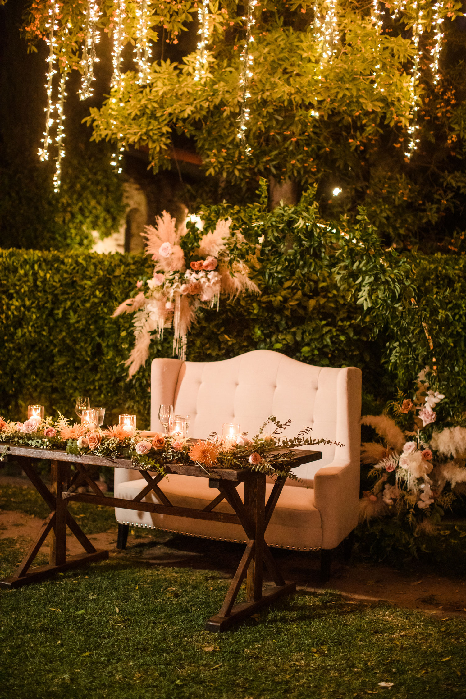 Top Chef Marcel Vigneron and Lauren Rae Levy real wedding planned by Tessa Lyn Events outdoor wedding reception sweetheart table