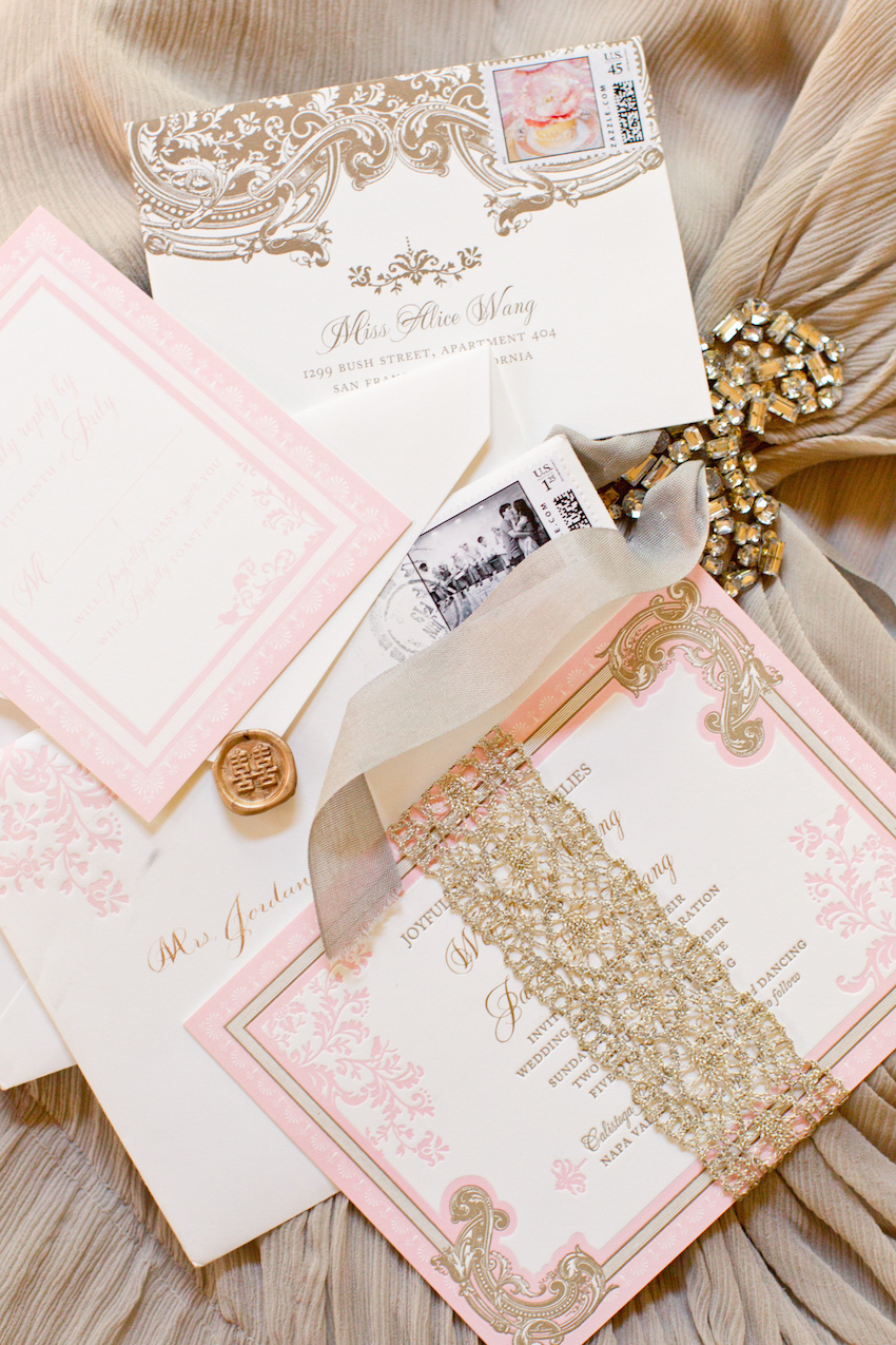 must have wedding detail shots pink and gold invitation suite custom stamp ceci new york