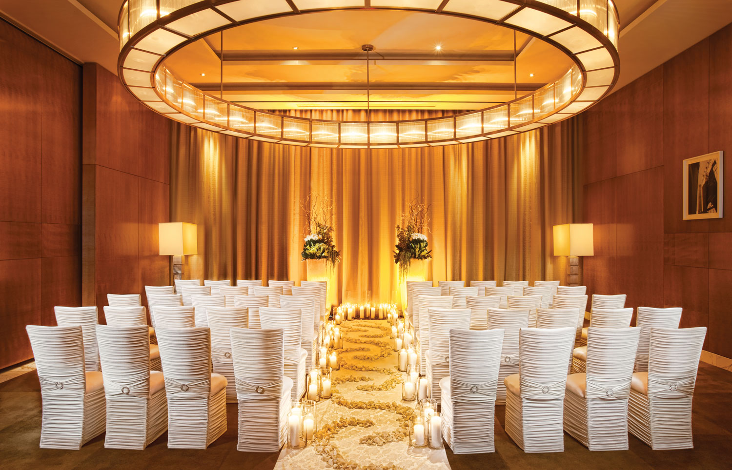 wedding ceremony with unique chairs guest seating by chameleon chair collection