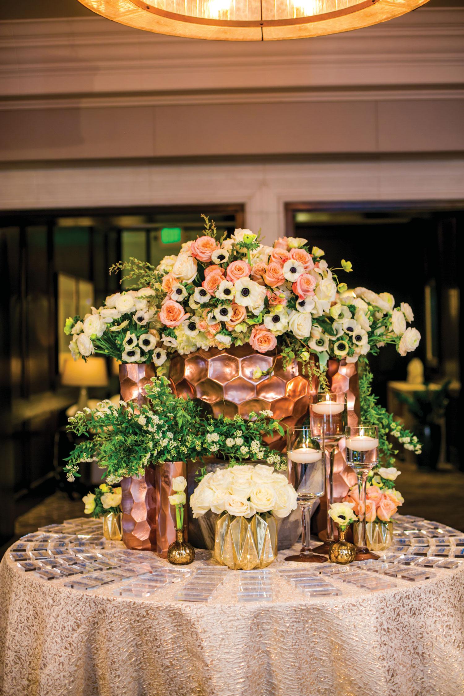 rose gold wedding ideas escort card table unique color palette linda howard events