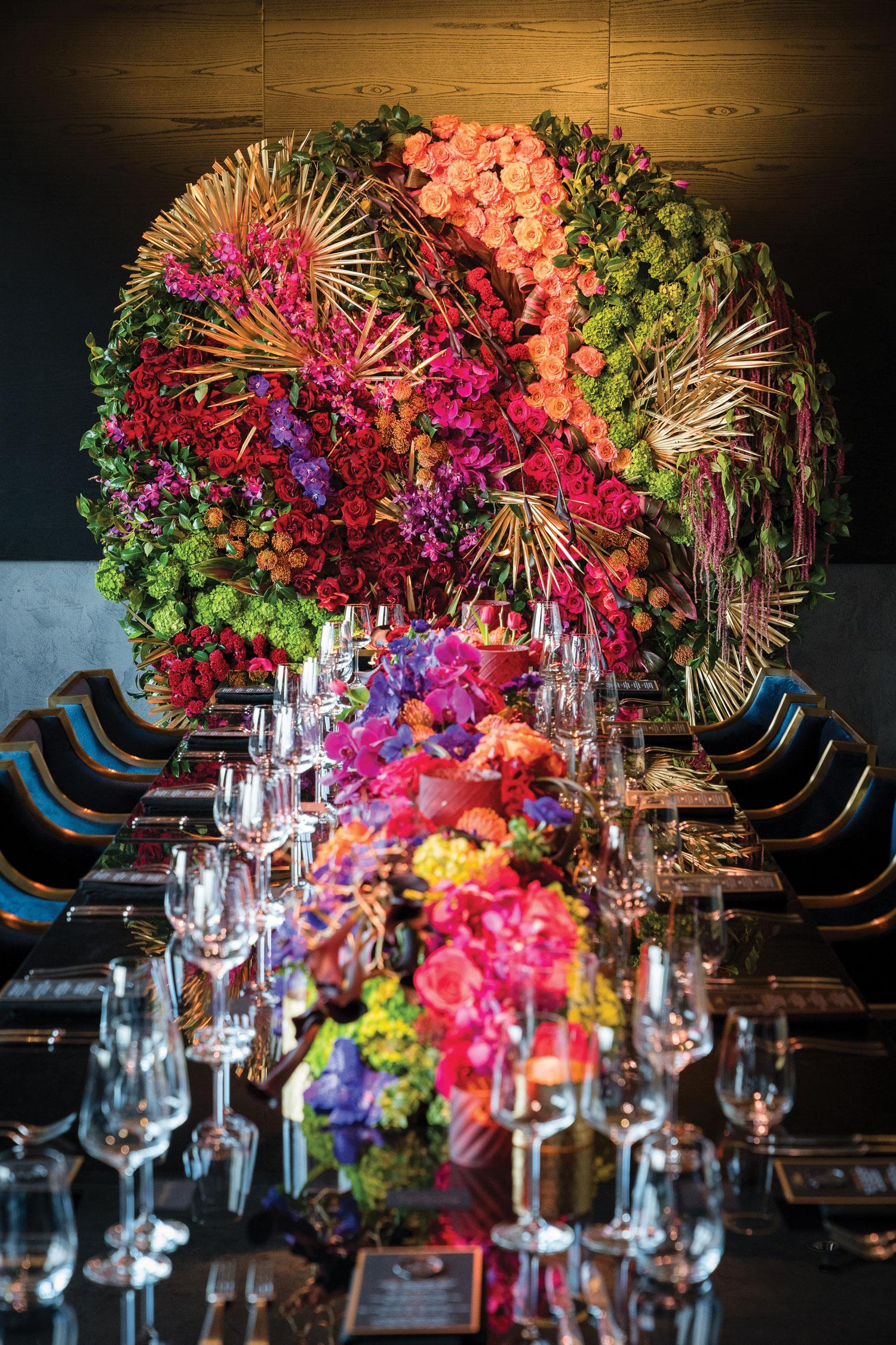 wedding ideas reception table backdrop flower installation