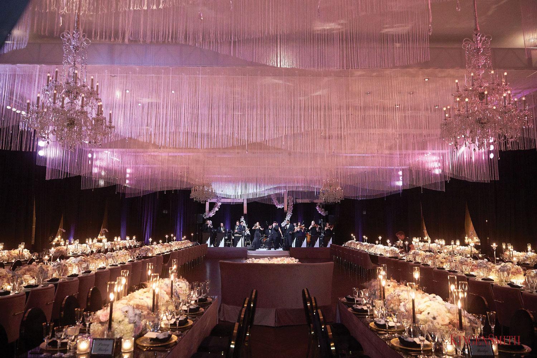 wedding reception purple lighting live band overhead ceiling installation hmr designs