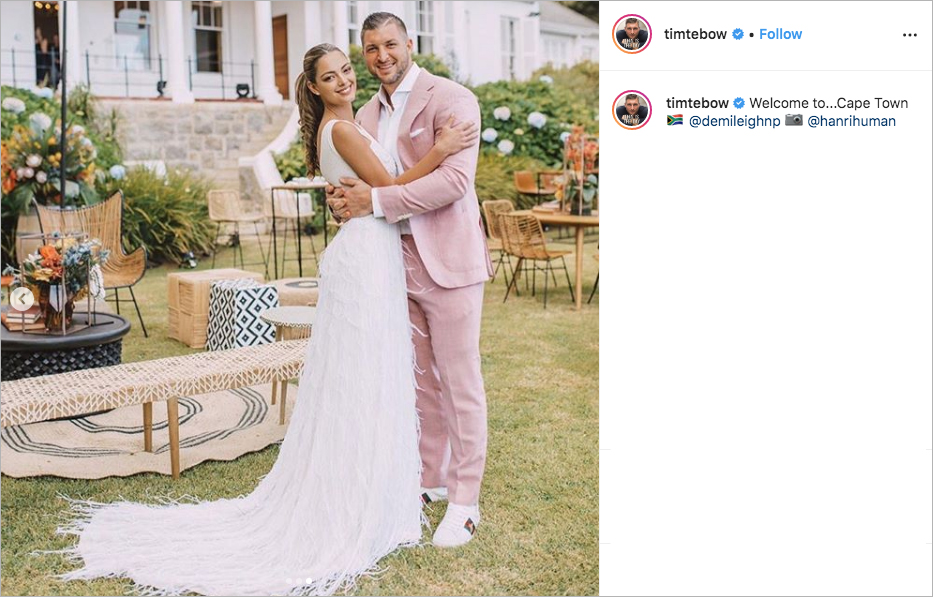Tim Tebow and Demi-Leigh Nel-Peter wedding weekend welcome party portrait