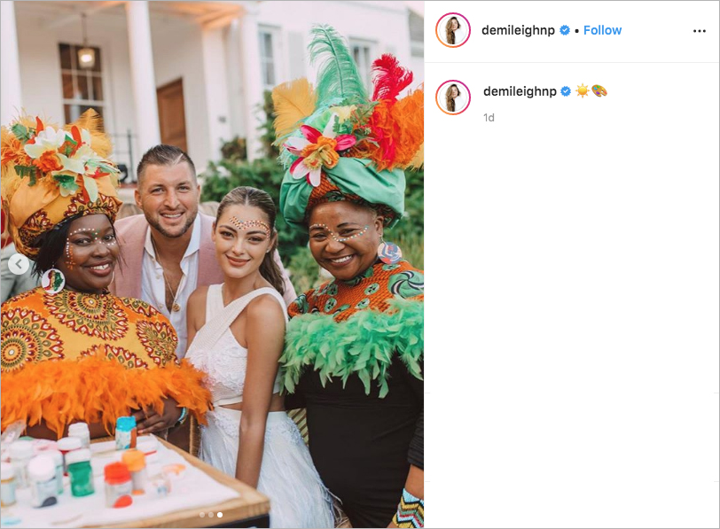 Tim Tebow and Demi-Leigh Nel-Peter wedding weekend welcome party south africa face paint