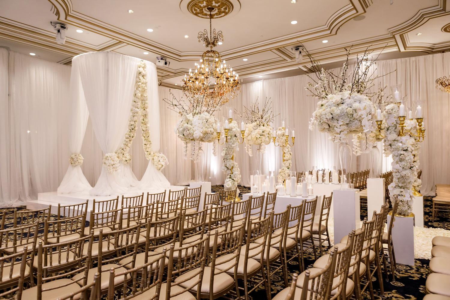white wedding decor gold accents timeless color palette