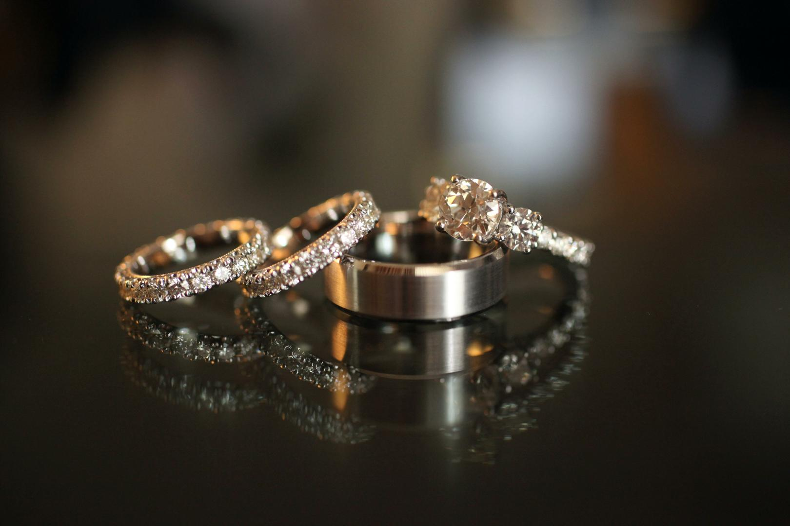 inspiring wedding ring sets for brides & grooms - inside weddings
