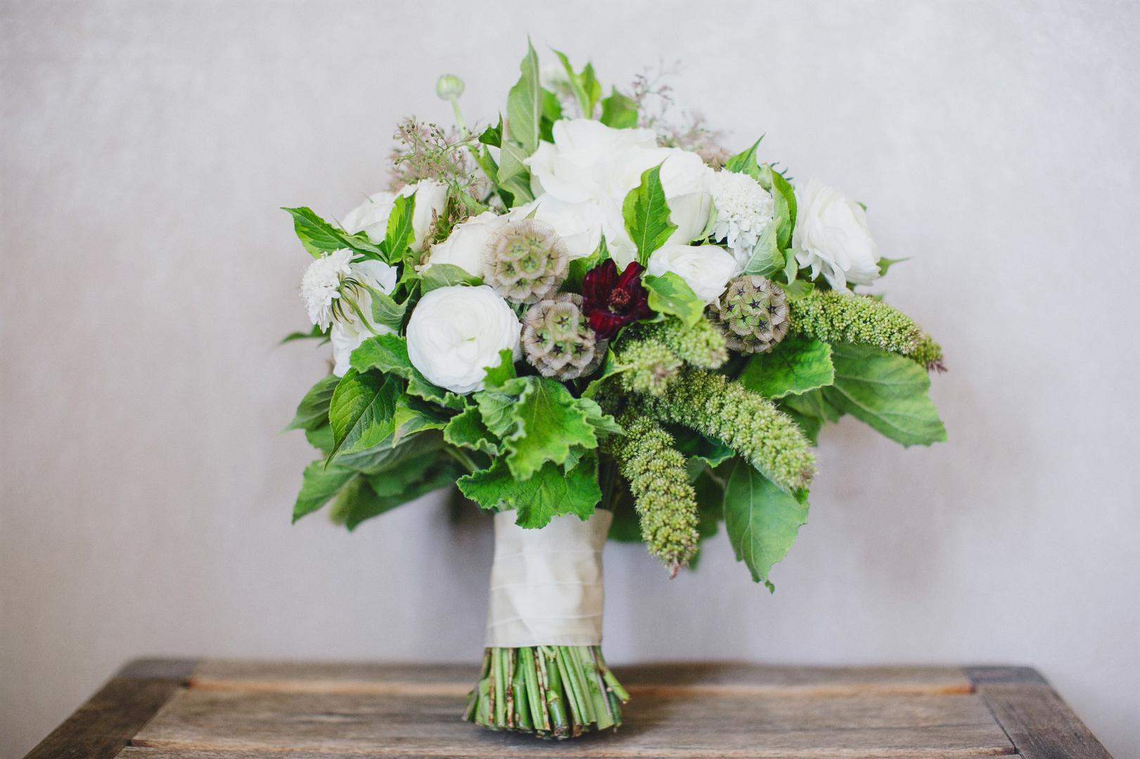 Wedding Flowers - Adding Green to All-White Bouquets - Inside Weddings