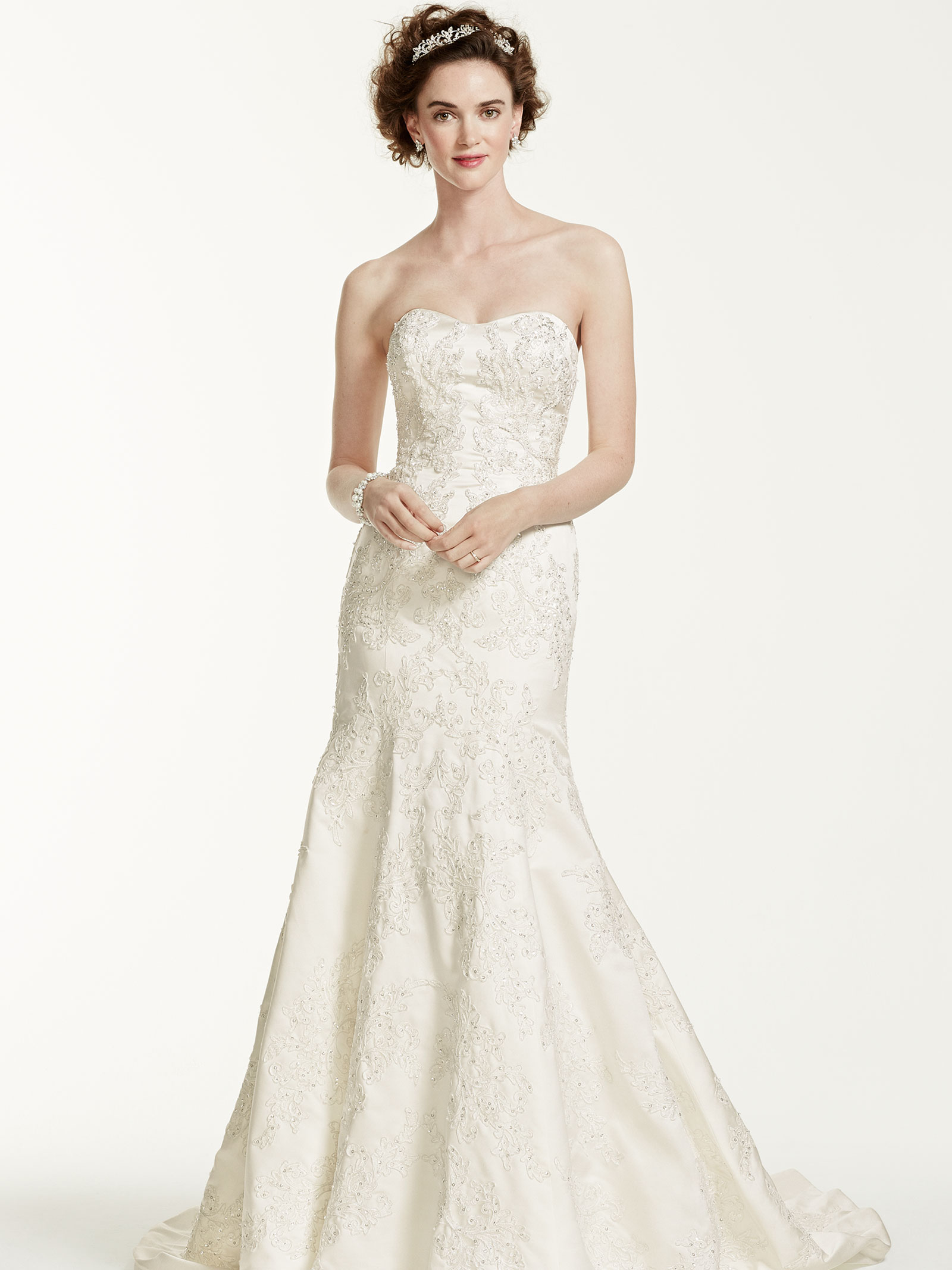 87ec7461286b Silhouette: Trumpet. Style: Strapless. Train: Sweep. Oleg Cassini at  David's Bridal CWG594 wedding dress