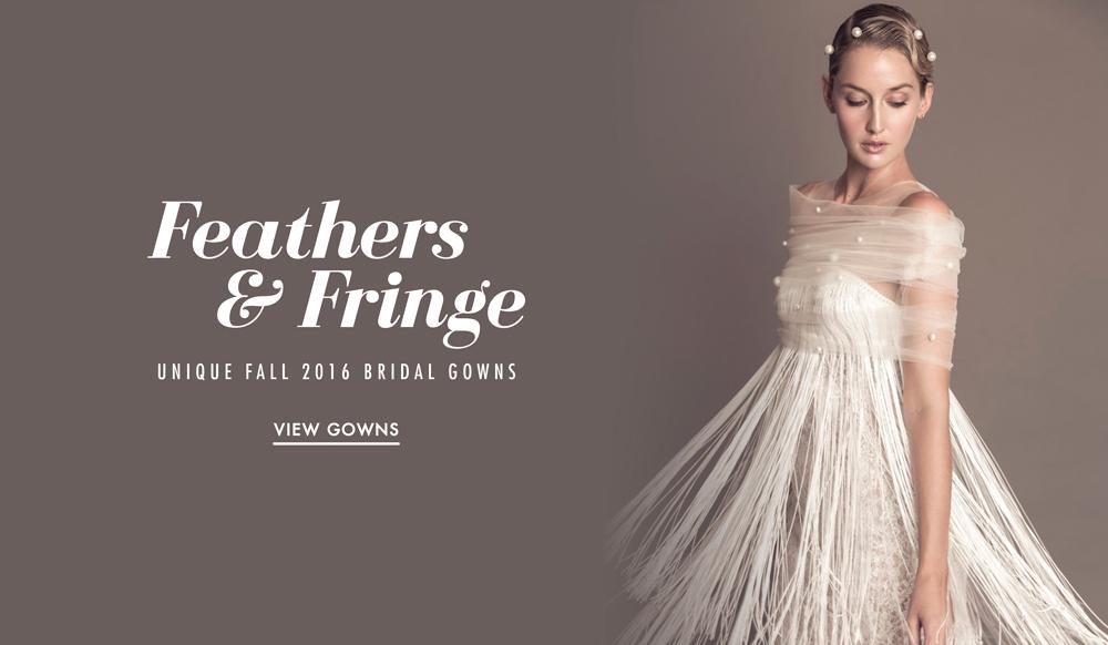 Wedding Dresses: Unique Feather & Fringe Bridal Gowns - Inside Weddings