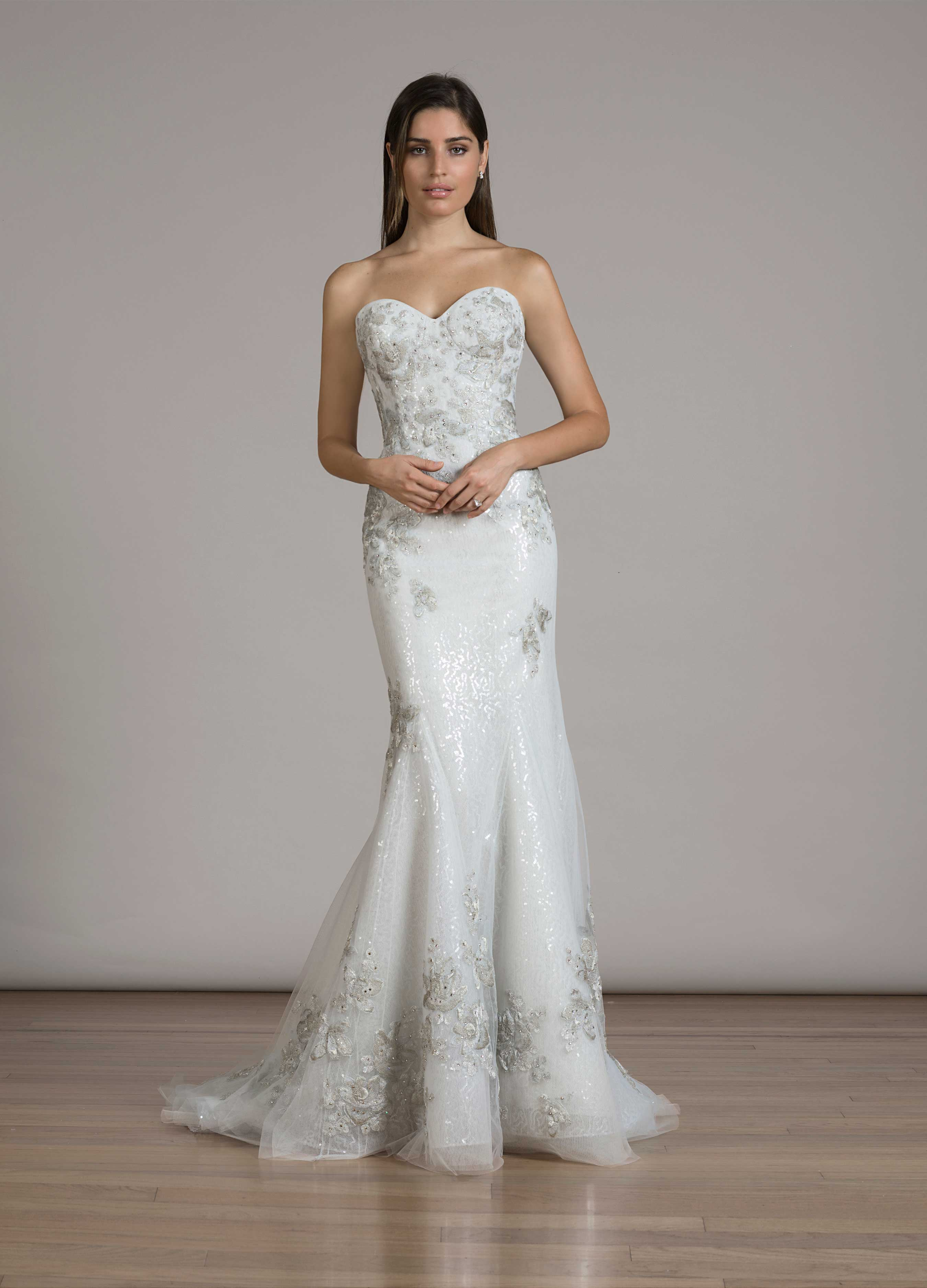 Liancarlo Fall 2016 Style 6843 Strapless Mermaid Wedding Dress With Silver Embroidery: Silver Mermaid Style Wedding Dresses At Websimilar.org