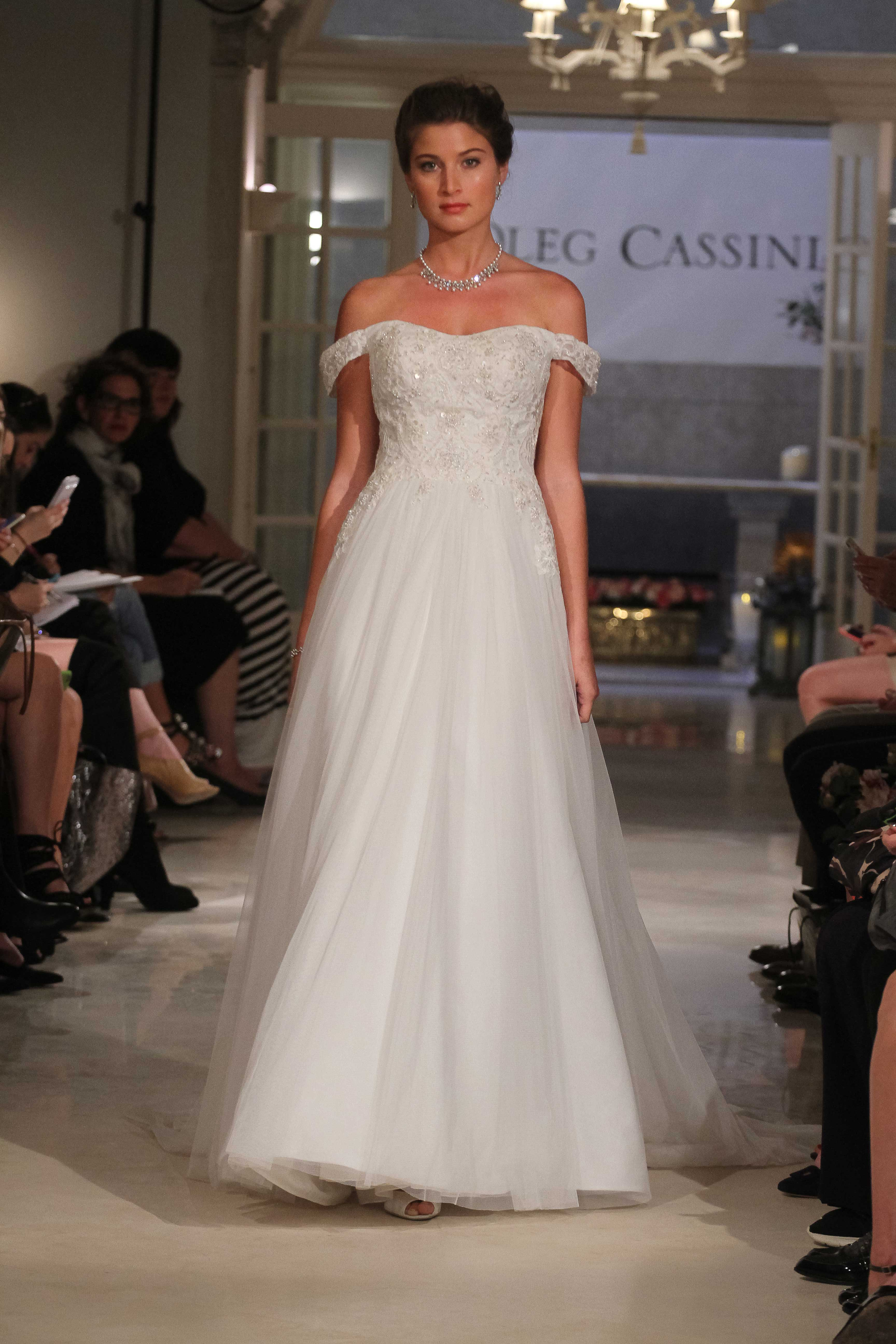 8b0022cd2cd Oleg Cassini at David s Bridal CWG729 off the shoulder ball gown wedding  dress