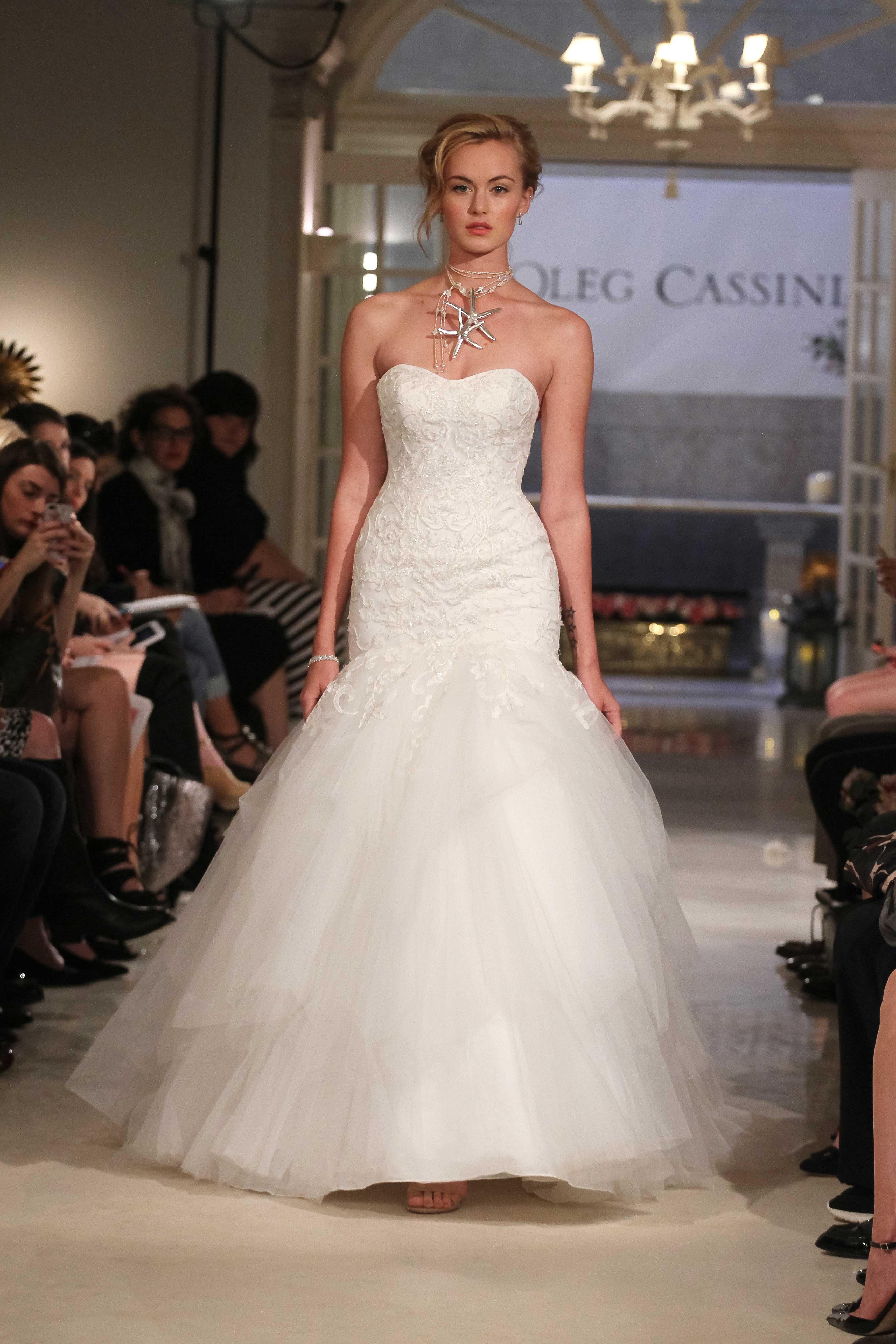 af036c495f93 Oleg Cassini at David's Bridal mermaid wedding dress with strapless  sweetheart neckline