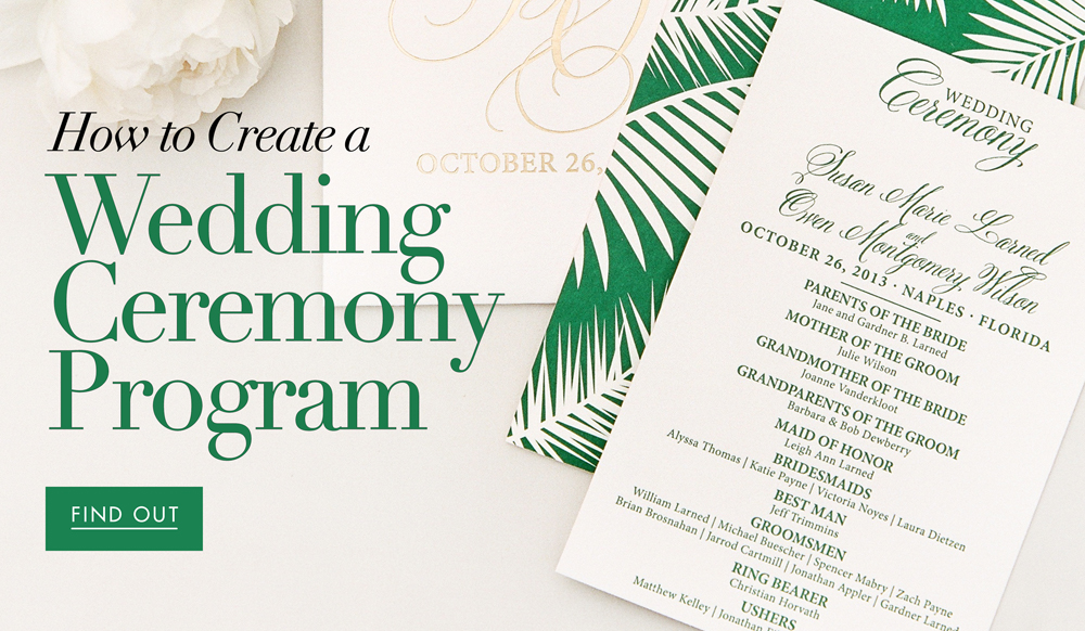 a complete guide to creating your wedding programs inside weddings