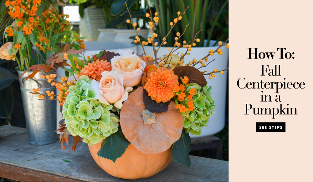 Pumpkin centerpiece tutorial with fall foliage and flowers inside weddings - Fall decor trends five tips to spruce up your homes ...