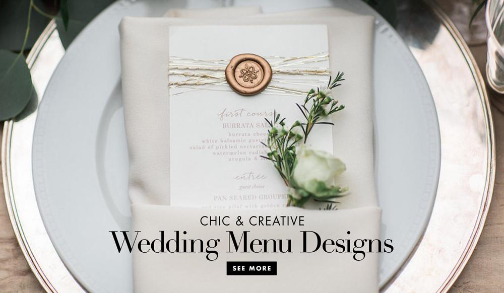 Unique and Interesting Wedding Reception Menu Designs - Inside Weddings