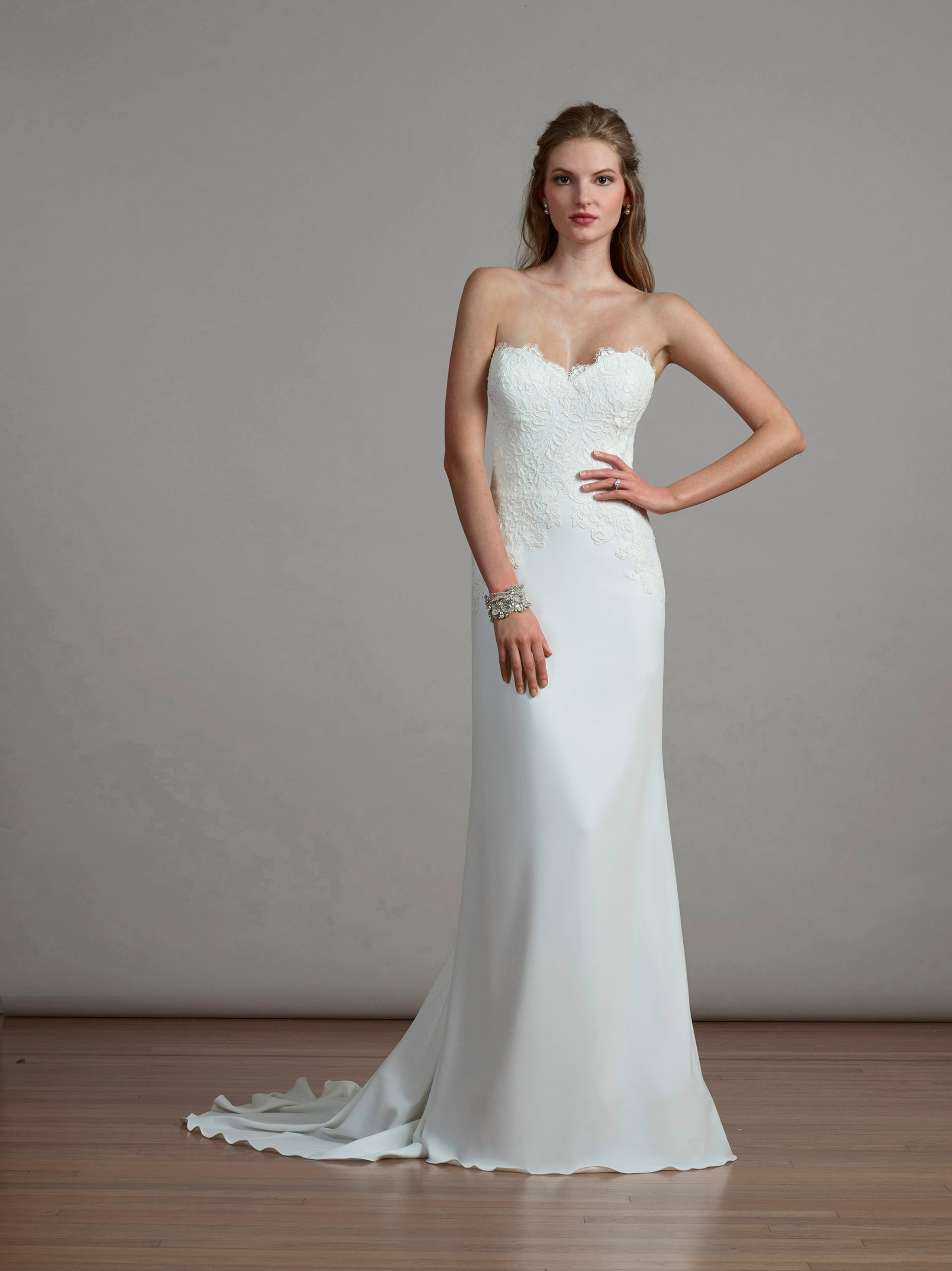 a141e2e55853 Liancarlo Spring 2018 bridal collection 6883 wedding dress crepe fit and  flare gown