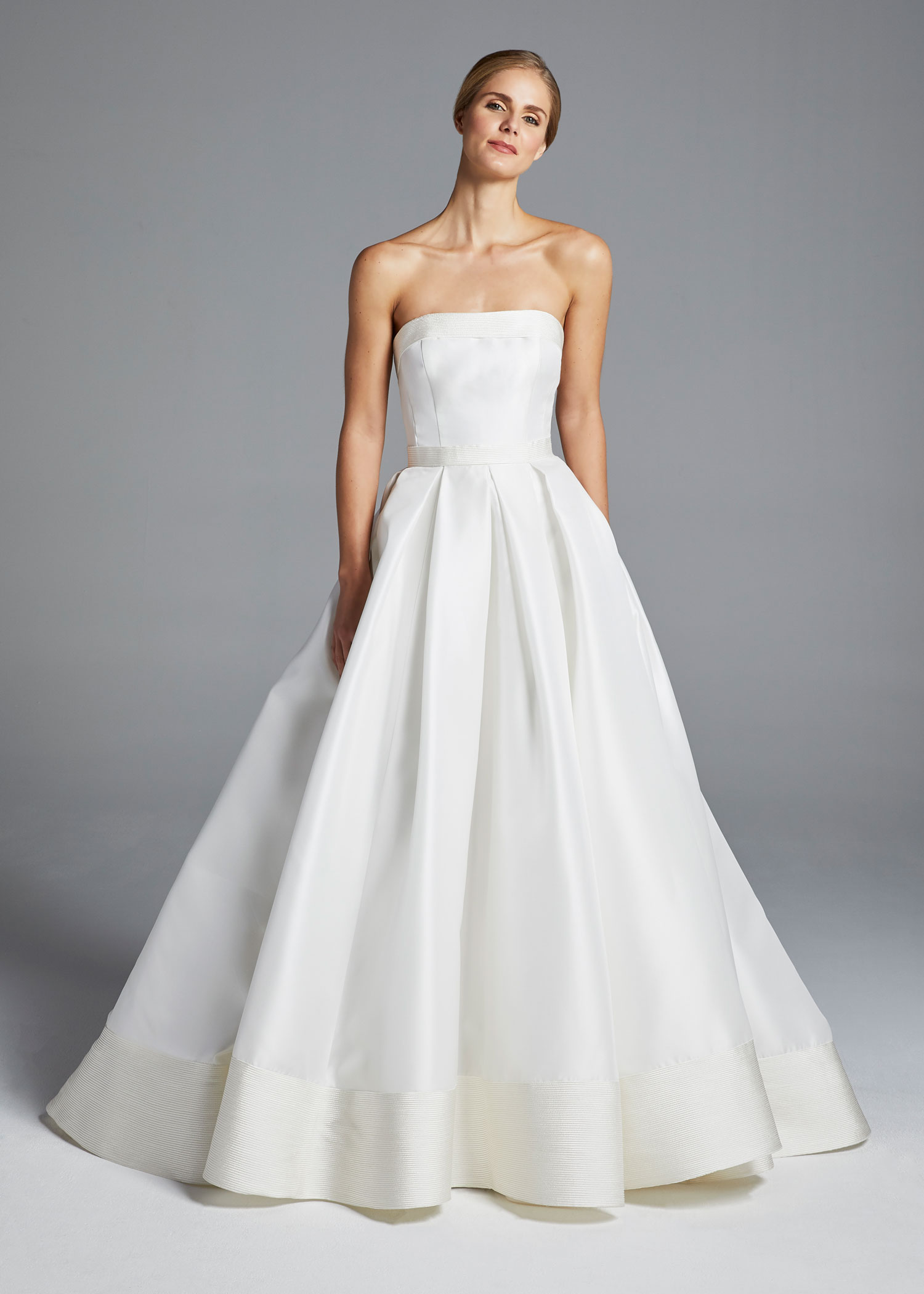 3f3d5a90376 Anne Barge Spring 2019 collection strapless ball gown with pleats and  soutache bands
