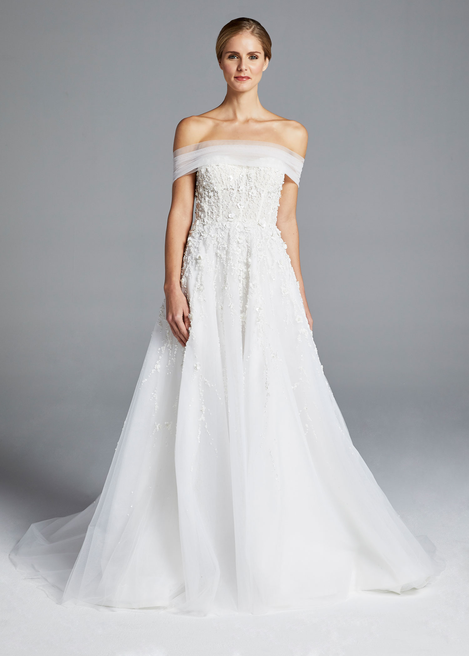 fc09f554e00 Anne Barge Spring 2019 collection a line gown with embroidery and corset