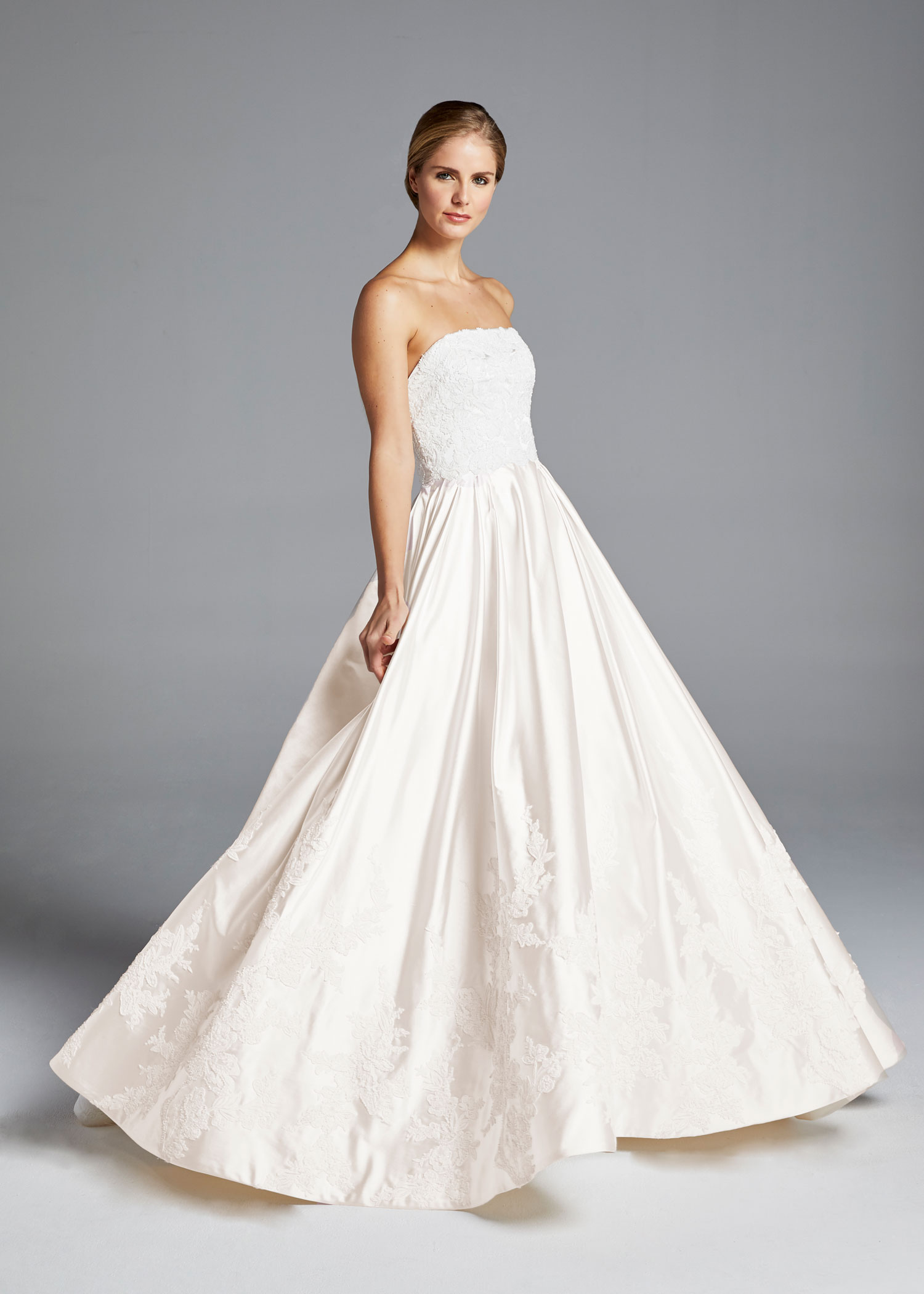 ee0696ab9a8 Anne Barge Spring 2019 collection strapless satin ball gown with pleats and  embroidery